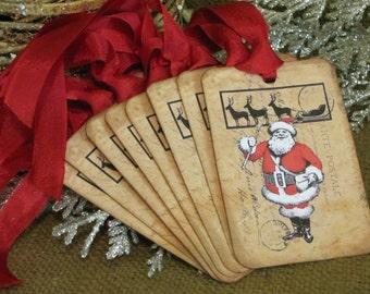 Christmas, Christmas Tags, Tags, Vintage Christmas, Gift Tags, Christmas Labels, Santa Tags, Vintage Santa
