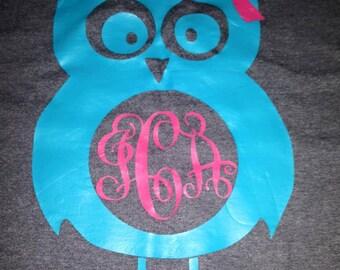 Owl Monogram Short Sleeve Shirt, Monogram Owl Shirt, Monogrammed Shirt