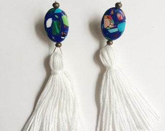 Multi Colored Earrings with Tassels