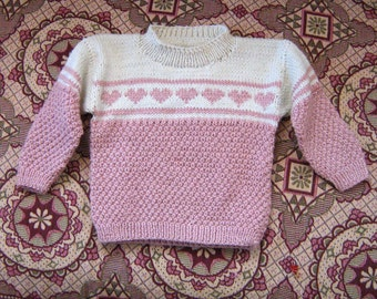 Hand knit girl sweater/Lovely hearts/Christmas sweater