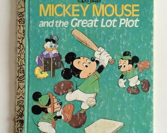 1974 Little Golden Mickey Mouse and the Great Lot Plot Child's Story Book