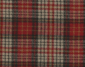 Red Plaid 100% Wool Fabric for Rug Hooking, Applique, Braiding and Sewing