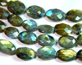 Labradorite Gemstone Faceted Oval Beads Size 16x13.7 mm Approx Code - LL01