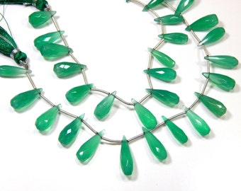 Green Chalcedony Faceted Teardrop Beads  Size 6x4.5 to 17.5x16.5 mm Approx - Code - 379