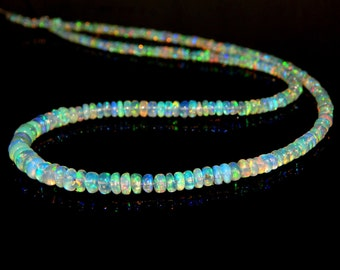 """Ethiopian Opal Multi Fair Rondelle beads - 17""""Inches 100% Natural Gemstone Size 5.4x3. mm Approx Code - 0475"""