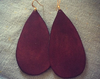 Large Mahogany Leather Drop Earrings
