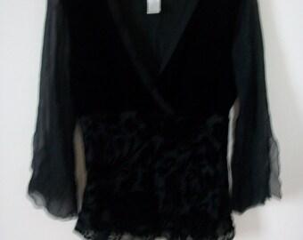 Womens Worthington Black Sheer/Faux Velvet Large Top