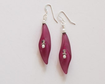 Purple and white glass Earrings