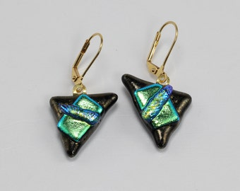 Fused Glass Earrings, Glass Earrings, Triangle Shaped Green and Brass Colored Earrings