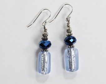 Sterling Silver, Blue Crystal & Glass Earrings
