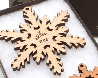 Personalized Christmas Ornaments by Nestled Pines - Custom Snowflake Ornaments Personalized with Name and Year
