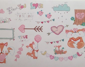 Foxy love-valetine day stickers