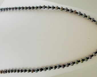 "Freshwater Black Pearl 7mm Necklace 46"" with Austrian Crystal"