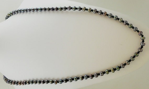 """Freshwater Black Pearl 7mm Necklace 46"""" with Austrian Crystal"""
