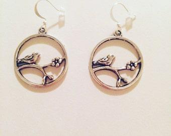 Really cute birds and landscape beautiful earrings