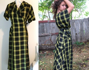 Handmade Vintage Yellow and Black Taffeta Wrap Dress