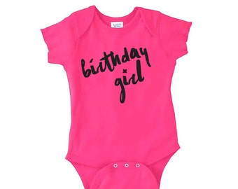 Birthday Girl Onesie - Multiple Color Options Available - Perfect for a first birthday girl outfit for a cake smash party.