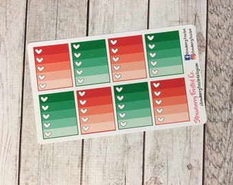 Christmas Red and Green Monthly Ombre Checklist Planner Stickers   Horizontals