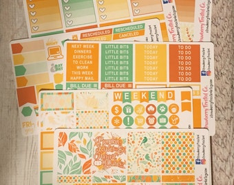 Pumpkin Kisses Harvest Wishes---- Weekly Planner Kit ---- {Includes 210+ Stickers}