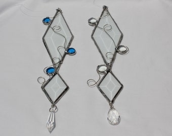 Beveled Glass Suncatcher - Abstract Suncatcher - Diamond Glass Bevels - Glass Nuggets - Clear Glass Suncatcher - Stained Glass Suncatcher