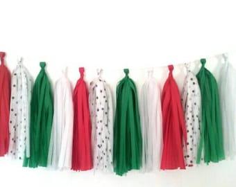 Holiday tassel garland - Kelly green, red, white, white black tassel garland - Christmas tassel garland - polka dot tassel garland
