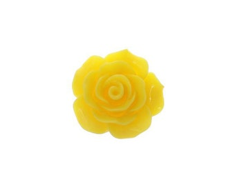 10 Yellow Cabochon Flowers, Yellow Resin Rose Flower (1S-88)