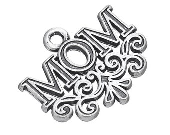 2 Mom Charms, Silver Plated (1K-135)