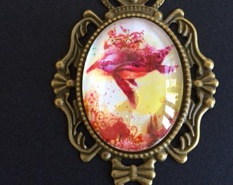 Alice in Wonderland Flying Whale Glass Cabochon