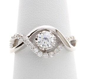 Unique Diamond Engagement Ring,Curved Engagement Ring, Diamond Ring, Diamond Engagement Ring.