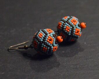 Beaded bead earrings, ethnic earrings, seed bead earrings, Native American, beadwork jewelry, dangle earrings, Boho style, gift for her