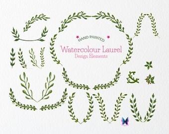 Watercolour Laurel Digital Clipart , Watercolor Laurel Wreath , Watercolour Floral Clip Art , Watercolor Clipart , Instant Download