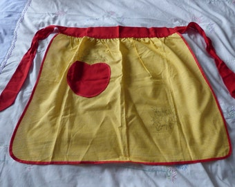 Sweet vintage yellow and white gingham apron with embroidery transfers, unused, 1960s 1970s