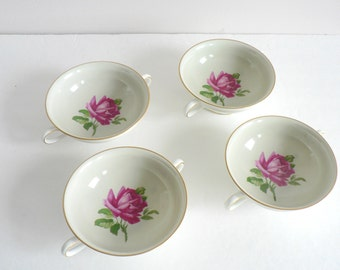 A Set of Four Porcelain Soup Bowls With Handles - by Thomas in Germany