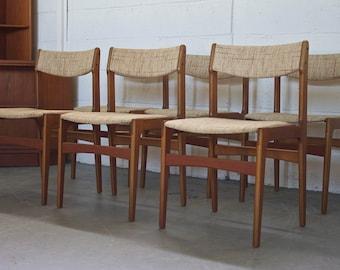 SOLD!! Retro 60s 70s Mid Century Danish 6 Teak Dining Chairs