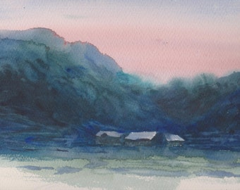 EARLY MORNING - original watercolor painting 12x9, landscape