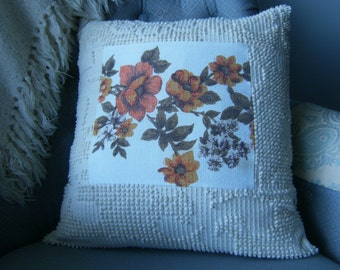 "Throw Pillow Cover, 16"" x 16"" Throw Pillow Cover, Upcycled Pillow Cover, Chenille Pillow Cover, Vintage Pillow Cover, Orange Floral Pillow"