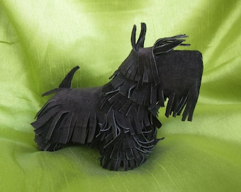 Scotty Terrier dog leather figure, Scotty Terrier, dog figure, leather handmade dog figure - Scotty Terrier