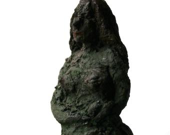 Forest Lady, Tiny House Art, statue, small sculpture, ceramic, pedestall, beauty, unique, art, woods, goddess