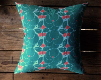 Flower Pink and Blue Throw Pillow