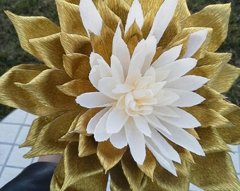 Golden and Ivory Dahlia Crepe Paper Flower/Bridesmaid Flower/Gatsby Wedding