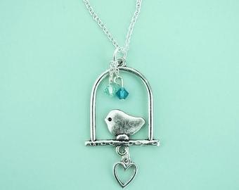 Perching Bird Necklace With Swarovski Crystals For Bird Lover