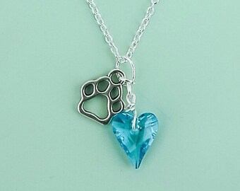 Wild Hearts Swarovski crystal pendant necklace for animal lovers