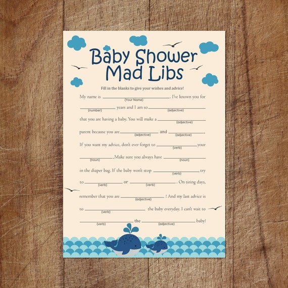 Whale Baby Shower Mad Libs Nautical Baby Shower Mad Libs
