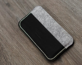 Free shipping Felt and leather case for iphone and others.