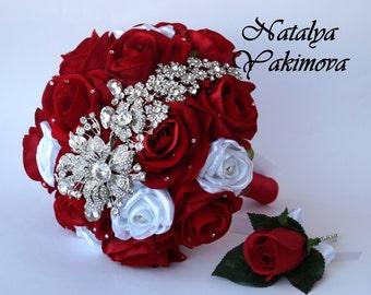 Brooch Bouquet, Red Brooch Bouquet, Bridal Bouquet, Wedding Bouquet, Fabric Bouquet, Unique Bouquet, Red, Silver