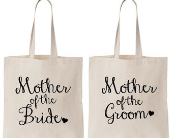 Set of 2 TOTES! Mother of the Bride & Mother of the Groom Set of Totes, Bride Bag, Bridesmaid Tote, Bridesmaid Bag, Wedding Day Tote