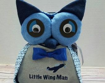Owl diaper cake, blue owl diaper cake, Owl baby shower, baby shower centerpiece, baby shower for boys, baby boy gift