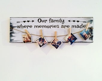"Wooden wall sign  ""Our family, where memories are made"""