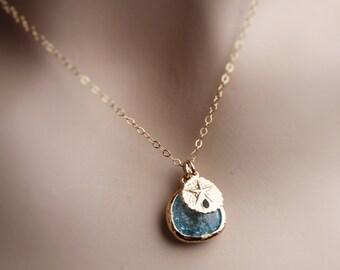 beach theme necklace, beach jewelry, sand dollar necklace, 14k sand dollar necklace, nautical necklace, nautical jewelry, sand dollar