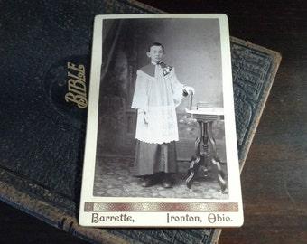 Altar Boy Cabinet Card: Old Photo Antique Photo, Ironton Ohio Vintage Photo, Religious Picture Catholic Photo, Victorian Photo FREE SHIPPING